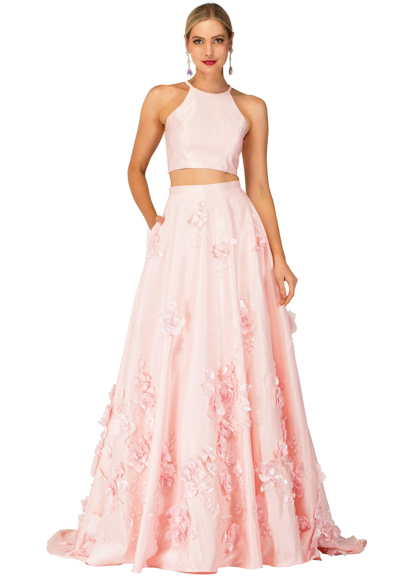 Cecilia Couture 2145 Two Piece Floral Adorned Ball Gown