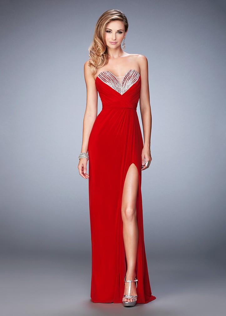 La Femme 22136 Shimmering Strapless Ruched Prom Dress