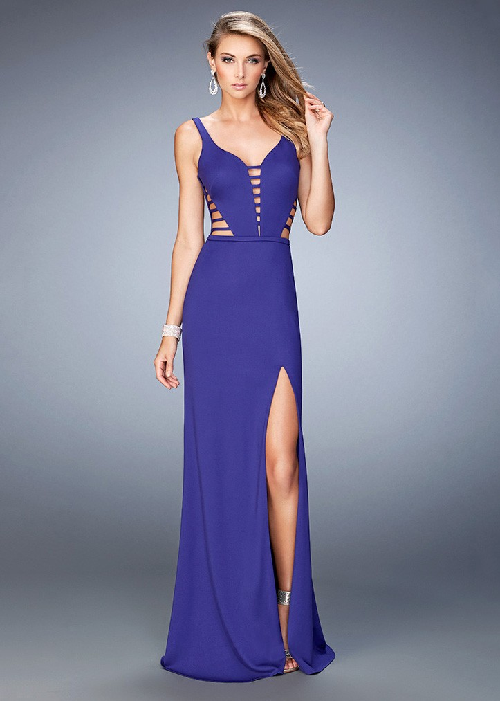 La Femme 22245 Enchanting Deep V-Neck Jersey Prom Gown