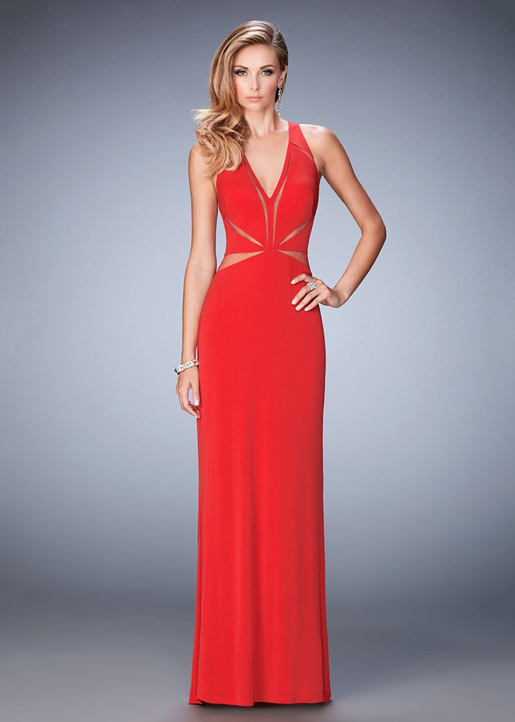 La Femme 22276 Fierce Illusion Cut Out Fitted Prom Dress