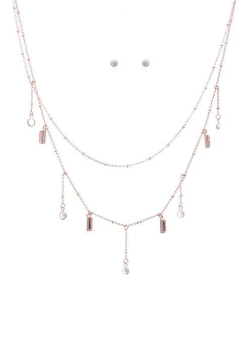 Peach Lightweight Stone Pendant Necklace