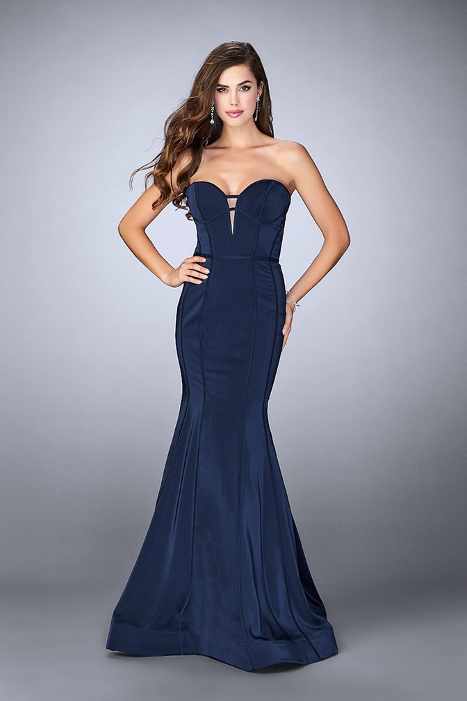La Femme 23227 Structured Fitted Jersey Mermaid Gown