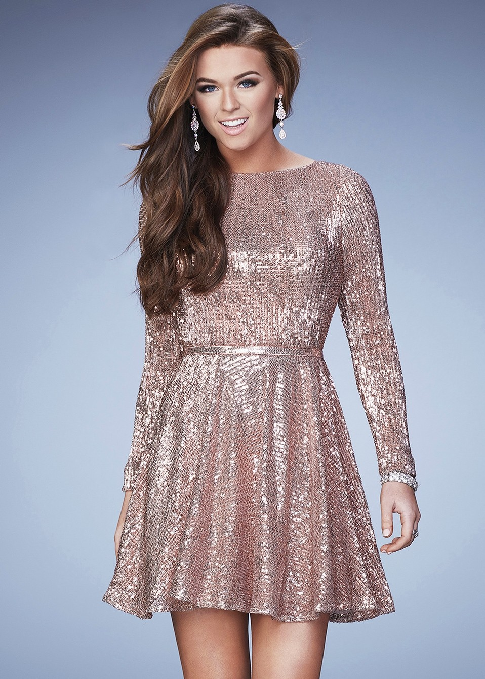 La Femme 23321 Long Sleeve Sequined Cocktail Dress