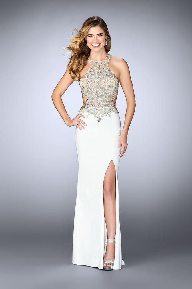 Gigi 23852 Glam Jeweled Illusion Jersey Gown