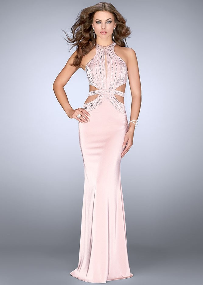 Gigi 24554 Beaded Shiny Jersey Prom Dress