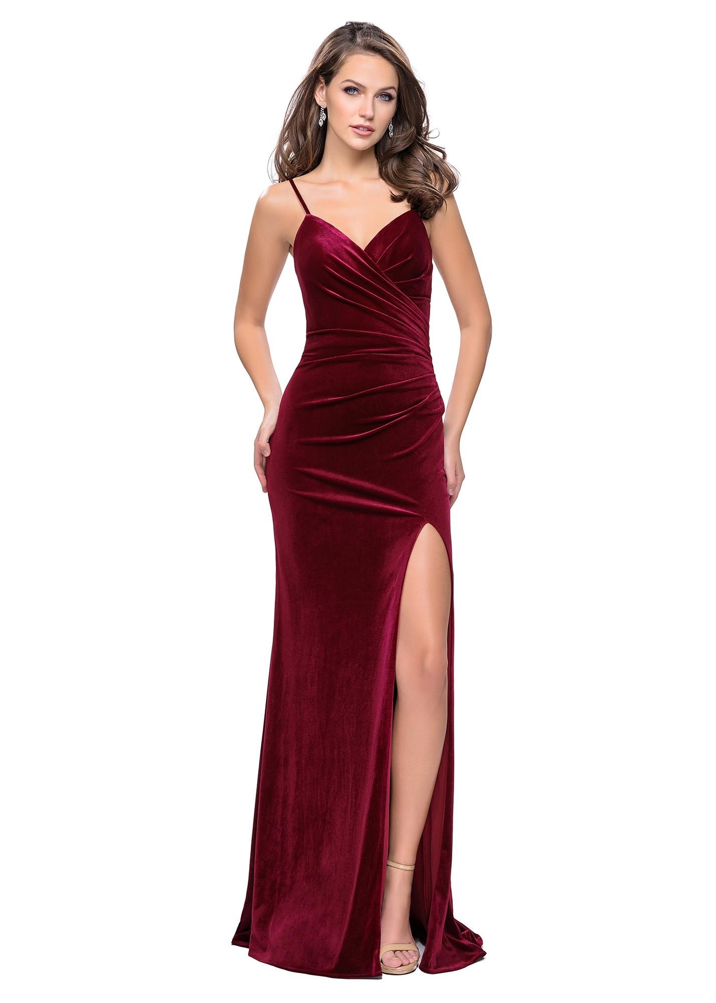La Femme 25184 Velvet Wrap Dress