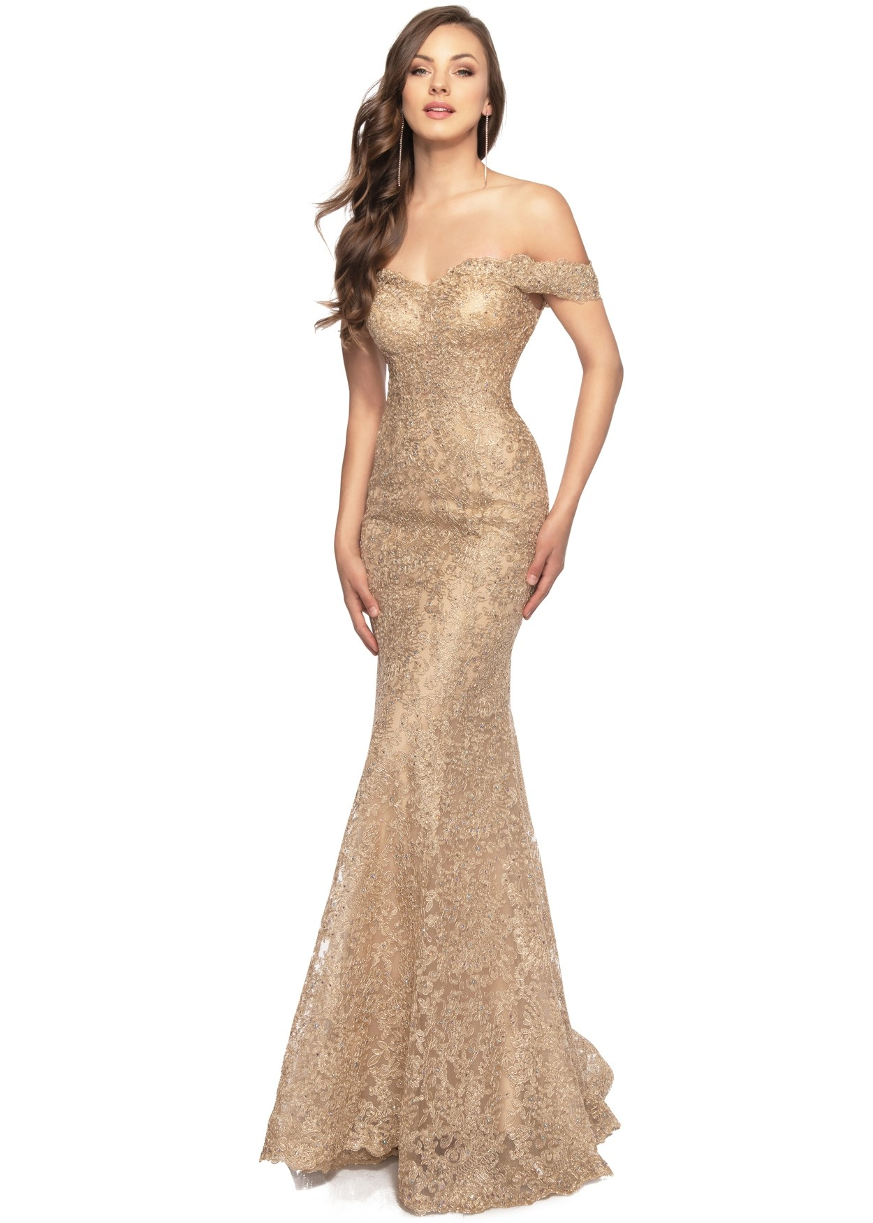 Lucci Lu 28066 Gold Metallic Lace Mermaid Gown
