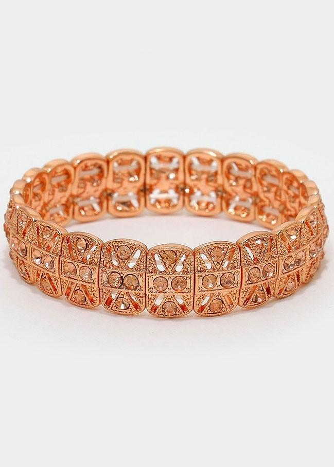 Peach Crystal Rose Gold Metal Stretch Bracelet