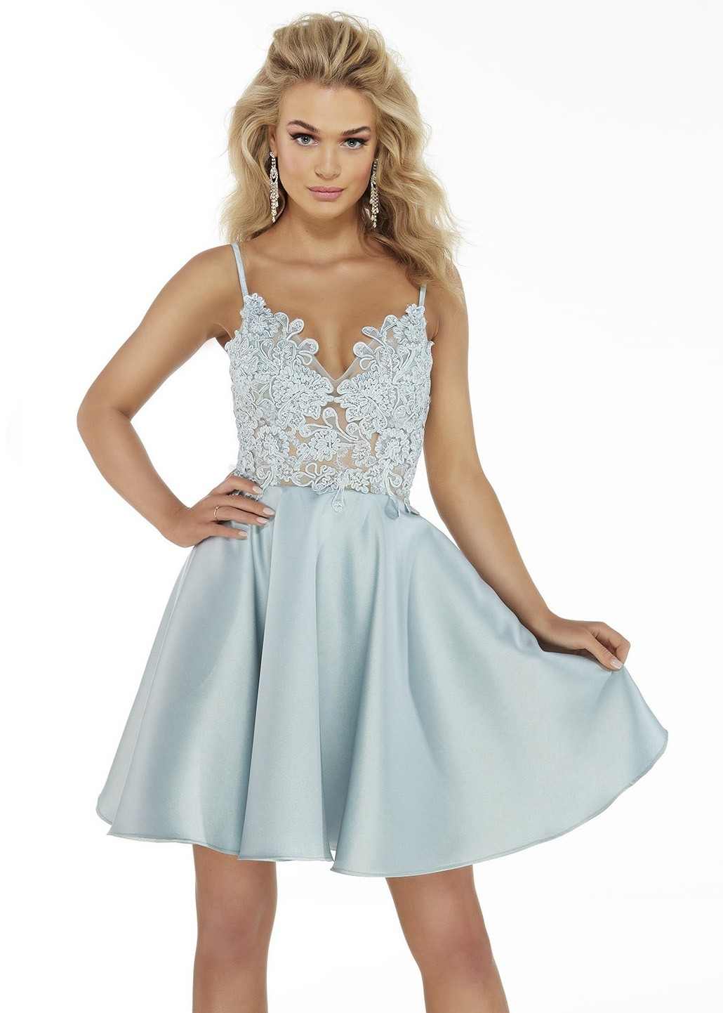 Alyce 3039 V-Neck Embroidered Bodice Short Dress