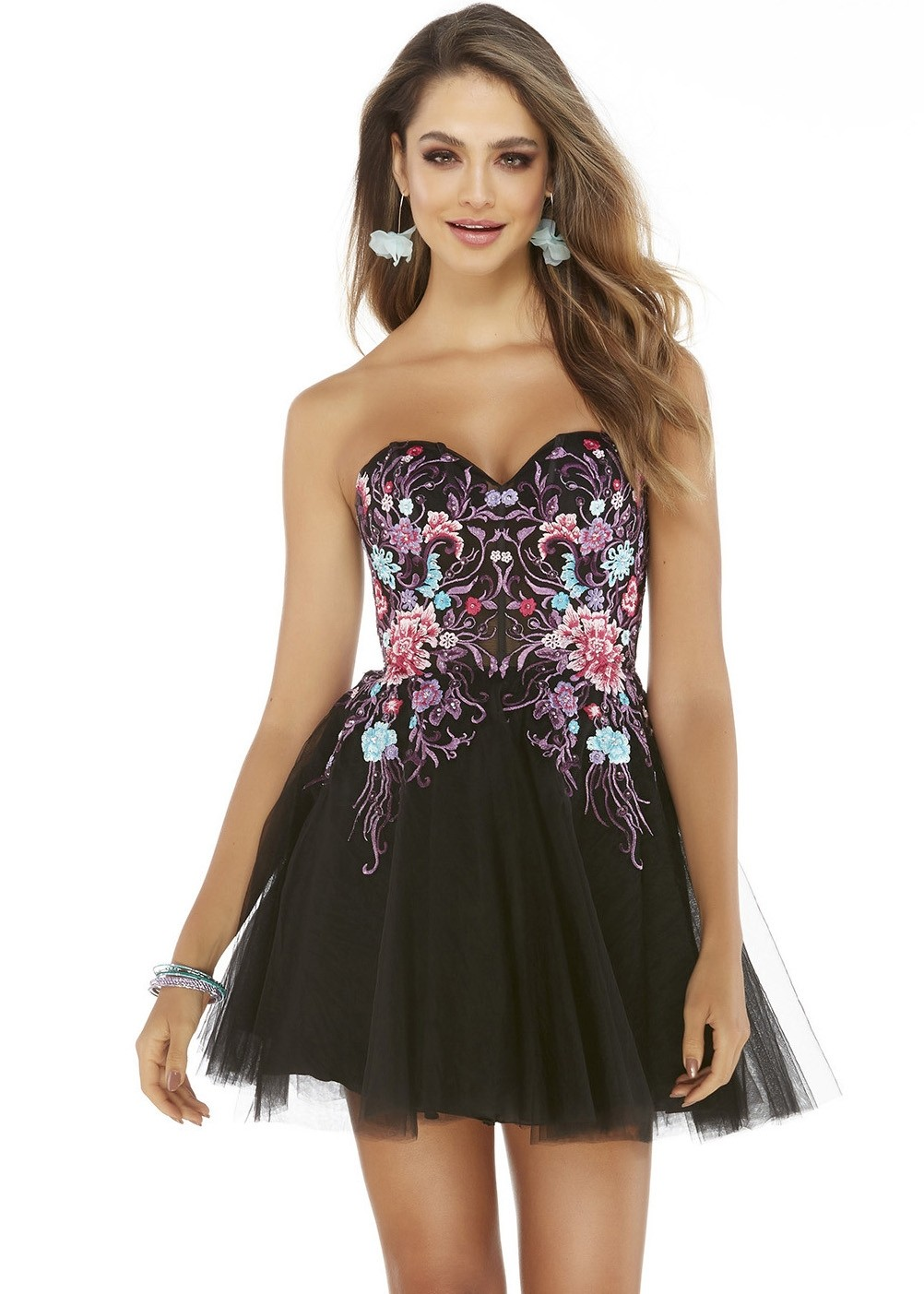 Alyce 3065 Black Jewel Embroidered Short Dress