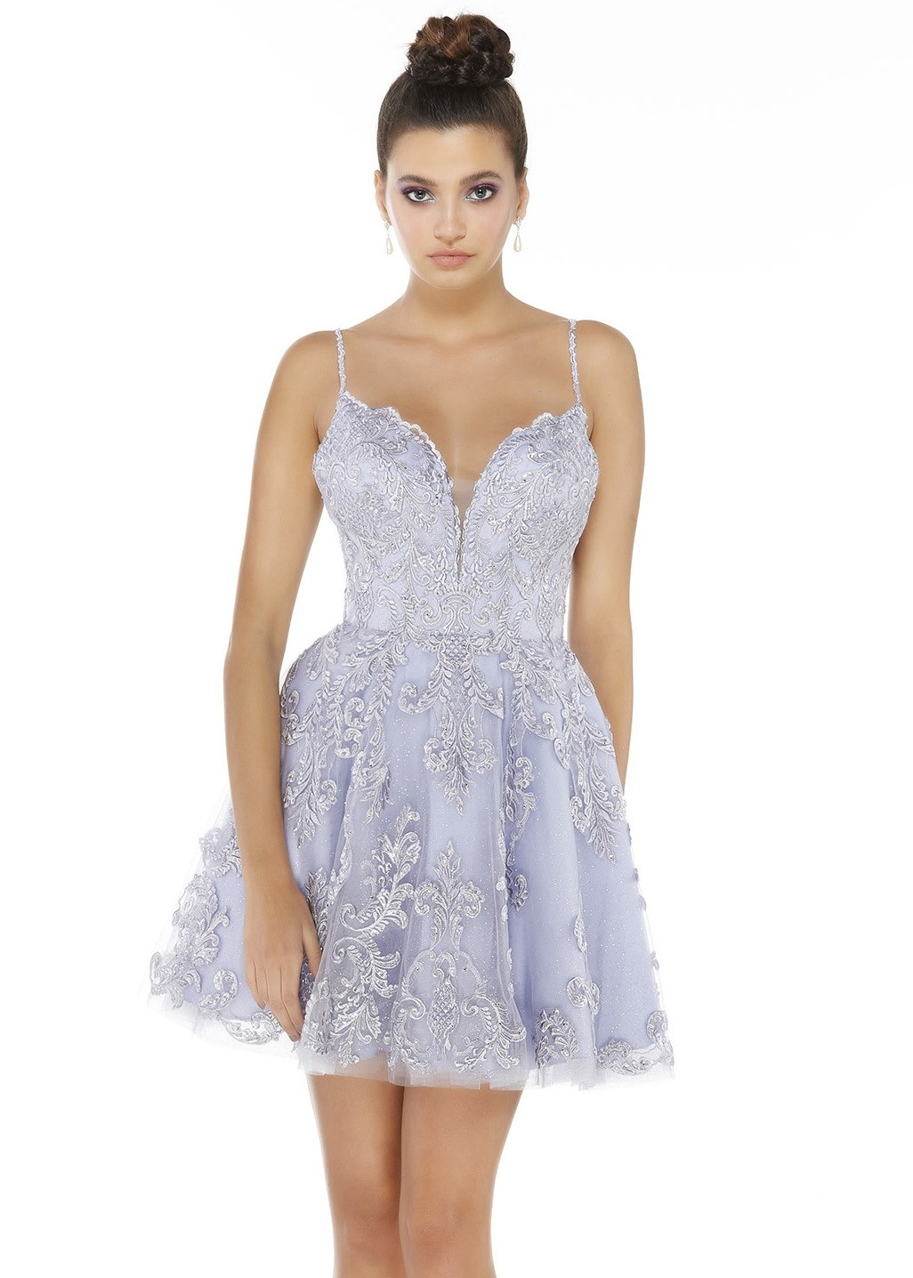 Alyce 3074 Ice Lilac Short Lace Dress
