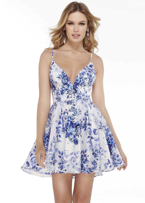 Alyce 3091 Short Blue Floral Print Dress