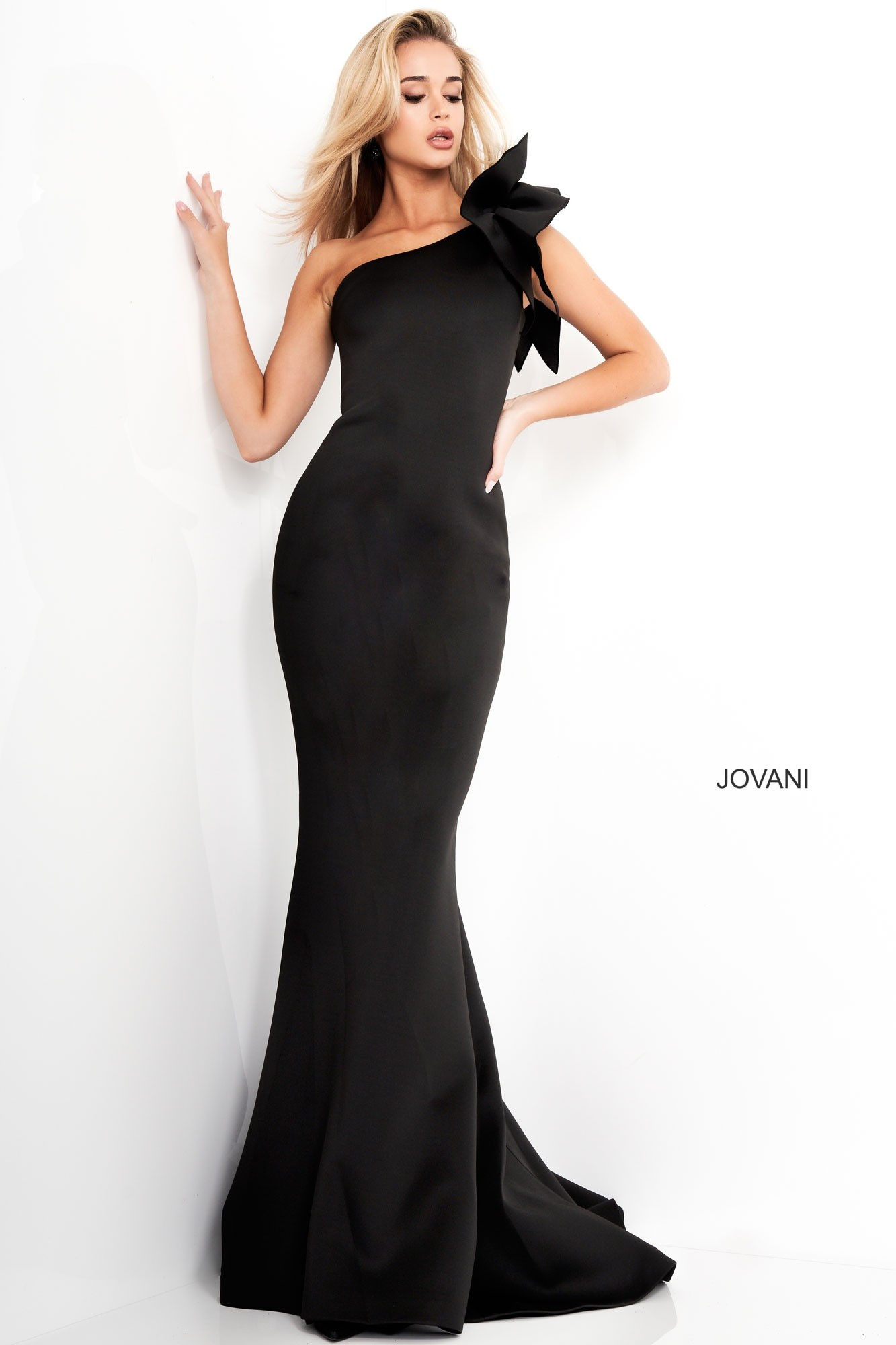 Jovani 32602 One-Shoulder Ruffle Fitted Gown
