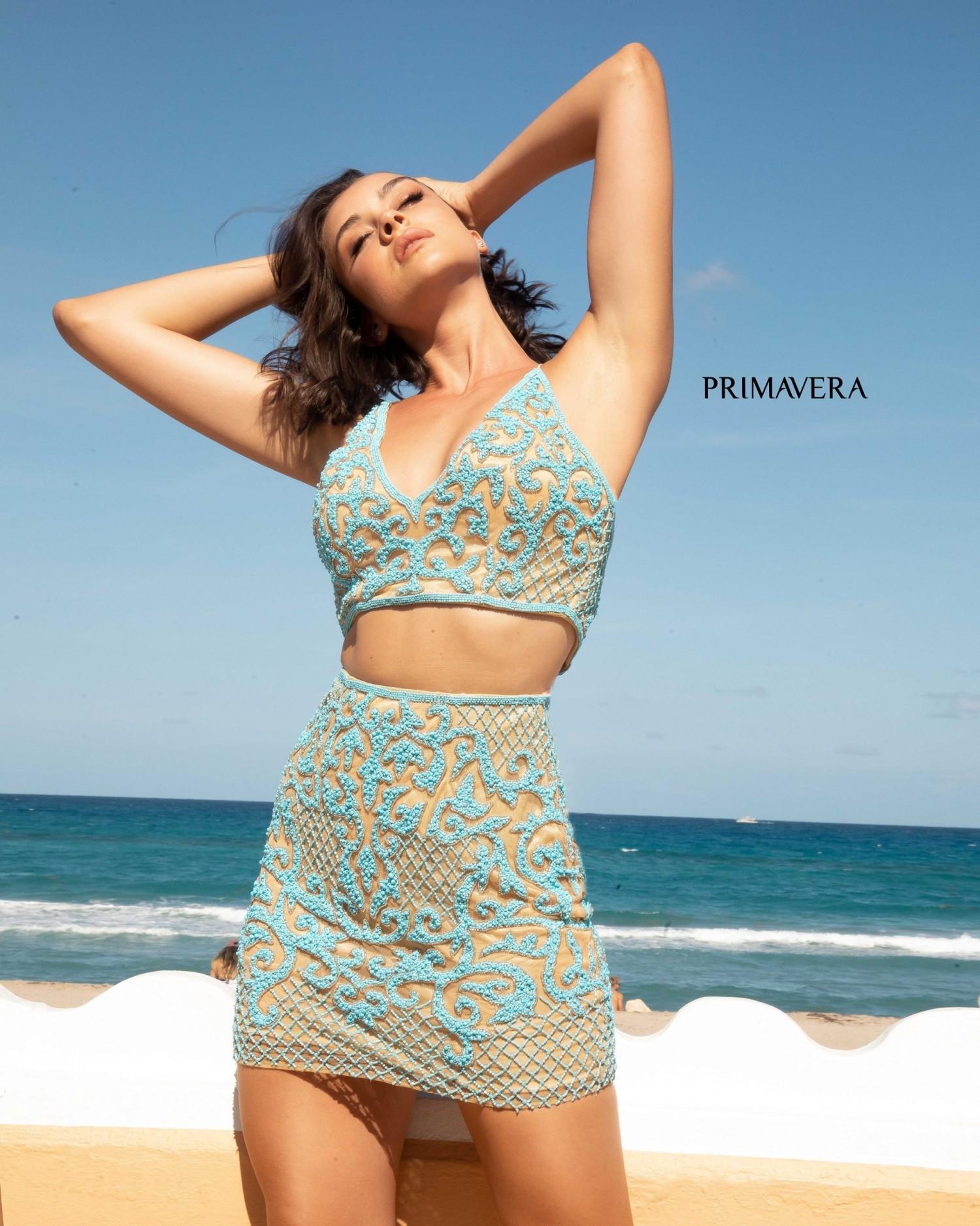 Primavera 3321 Beaded Two Piece Short Dress