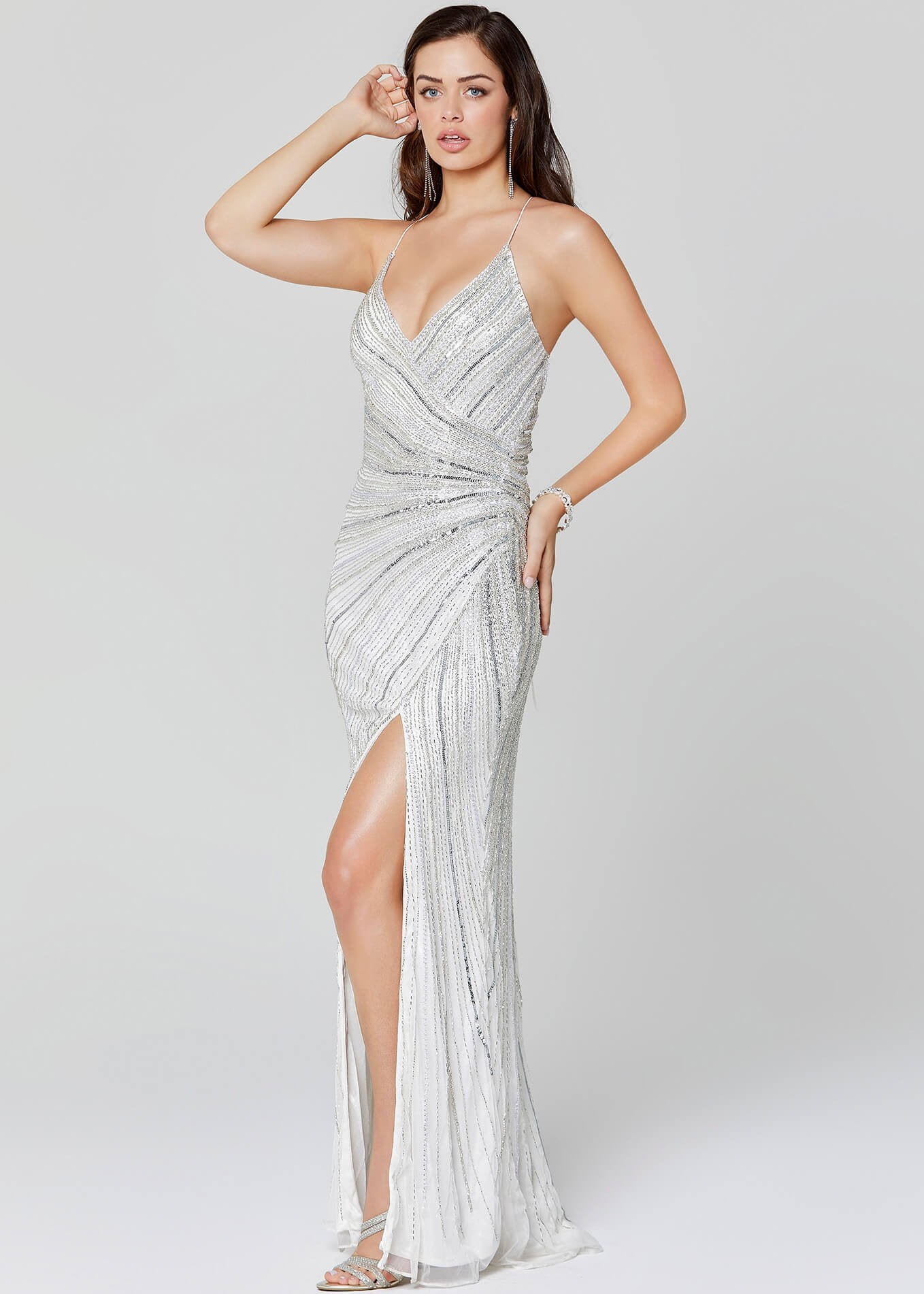 Primavera Couture 3403 Beaded Gown with Slit