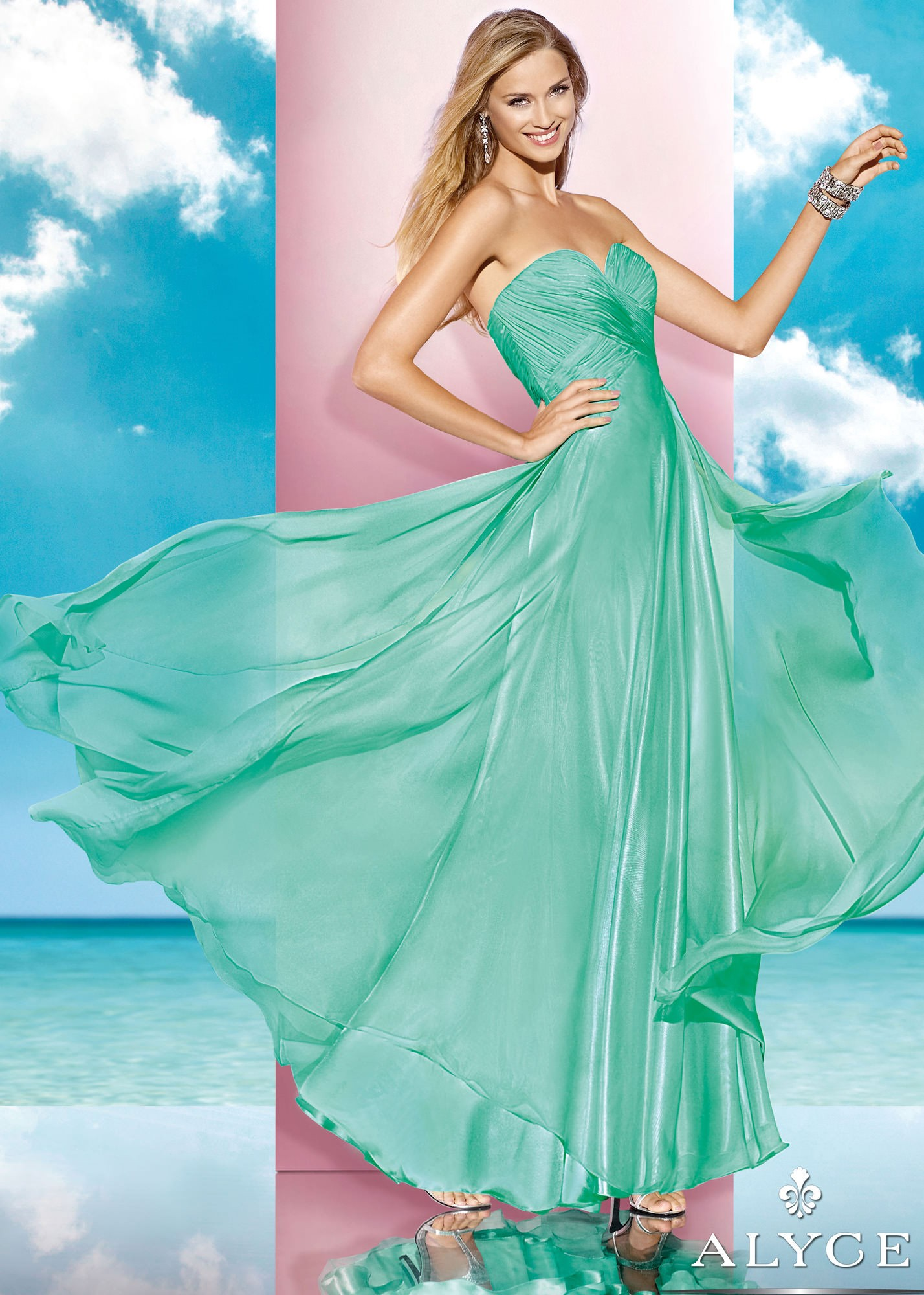Alyce B'Dazzle 35595 Ruched Chiffon Gown