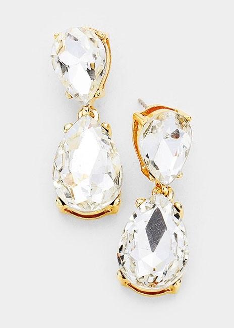 Clear Crystal Double Teardrop Earrings