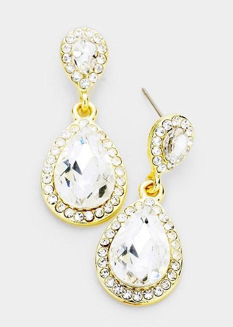 Double Crystal Teardrop Evening Dangle Earrings