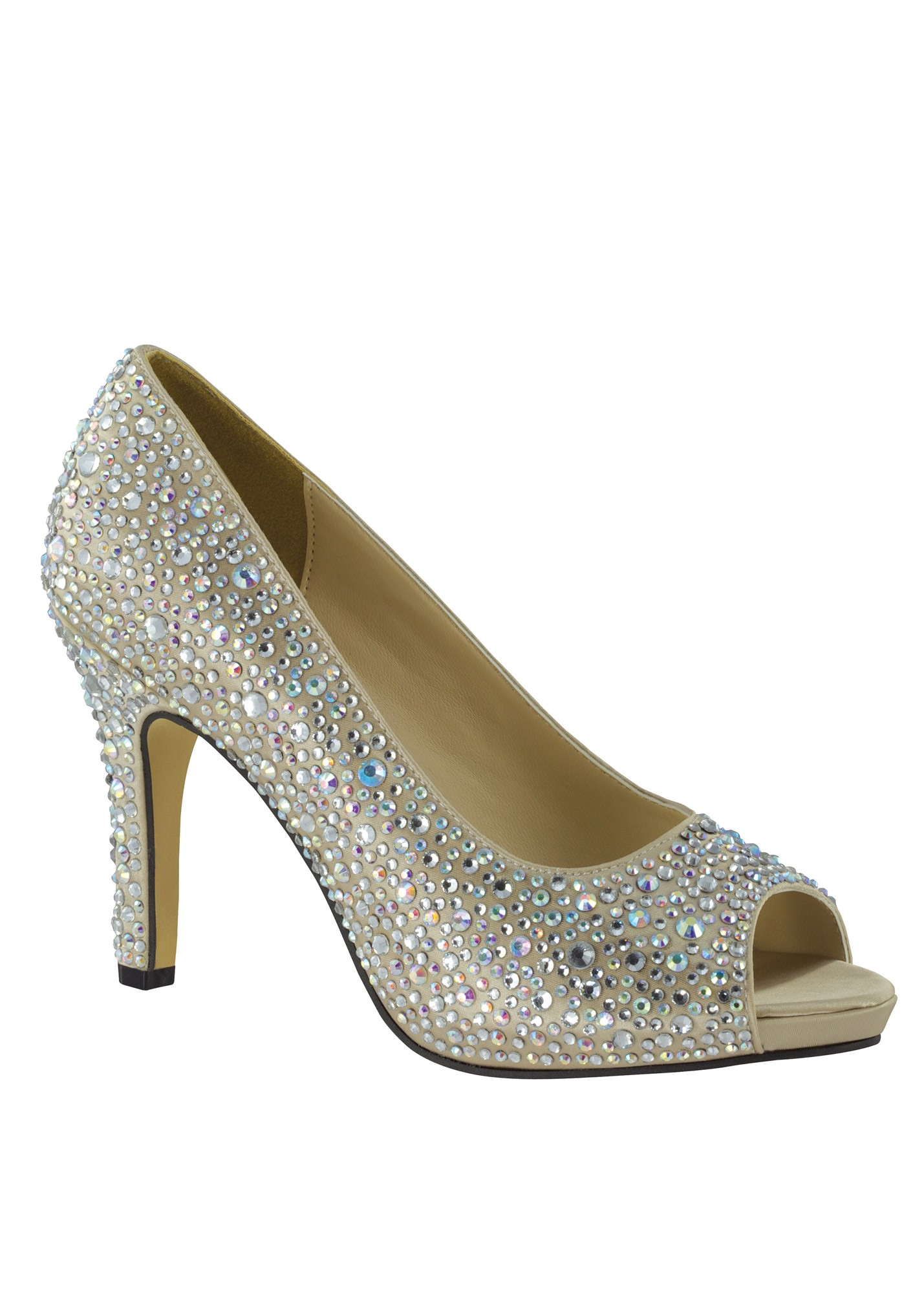 Eliza by Touch Ups Champagne Beaded Platform Shoes