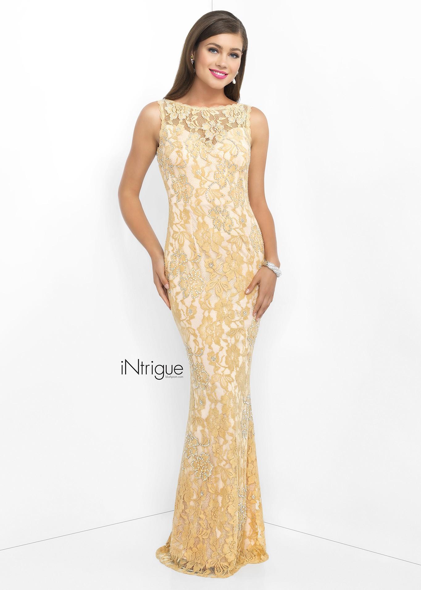 Intrigue 41 Elegant Beaded Open Back Prom Dress