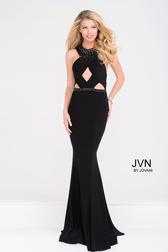 JVN by Jovani JVN41543 Jeweled Halter Jersey Gown with Cutouts