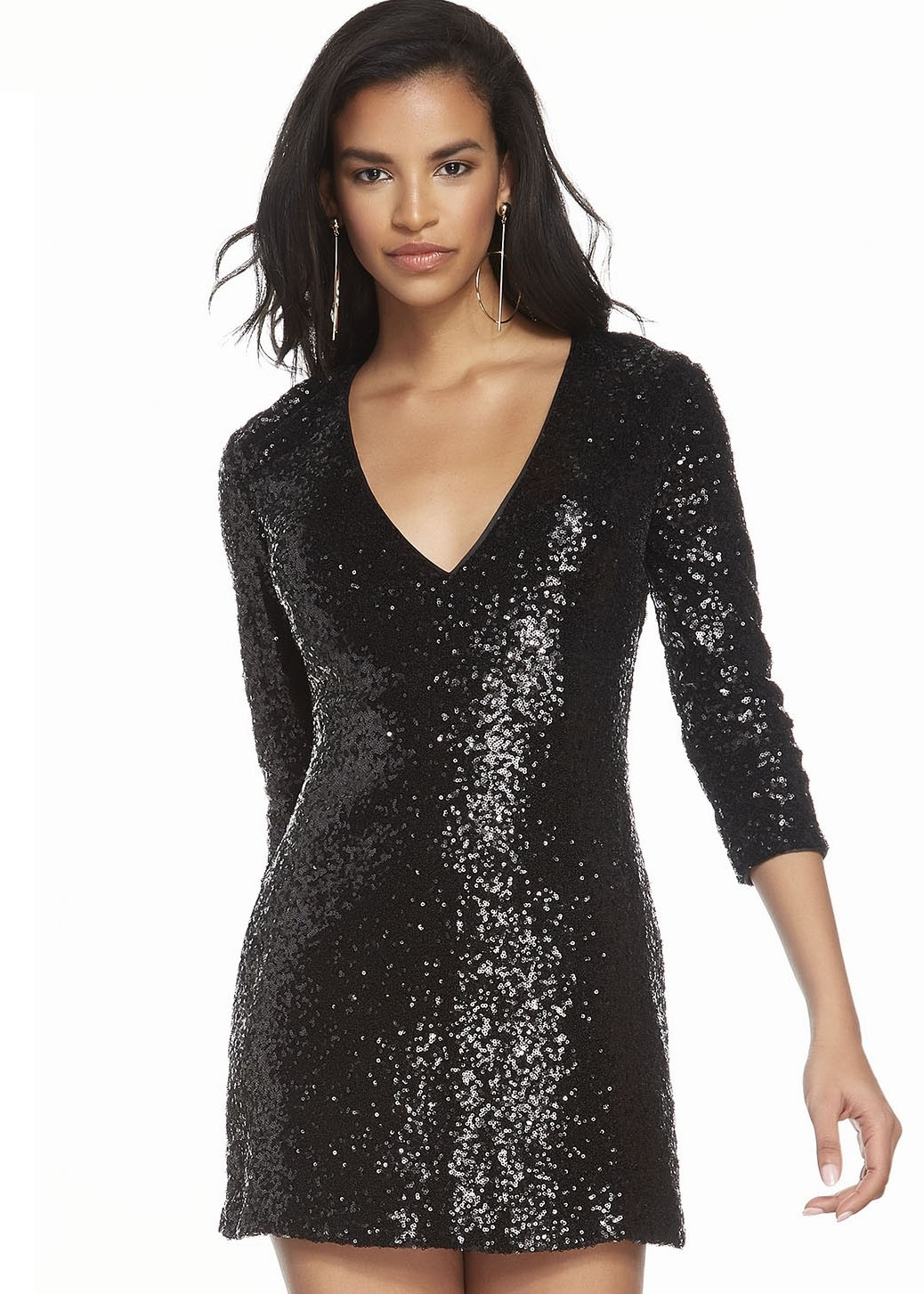 Alyce 4210 Short Sequin Dress with Sleeves