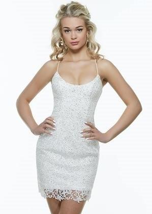 Alyce 4258 Short Lace Scoop Neck Dress