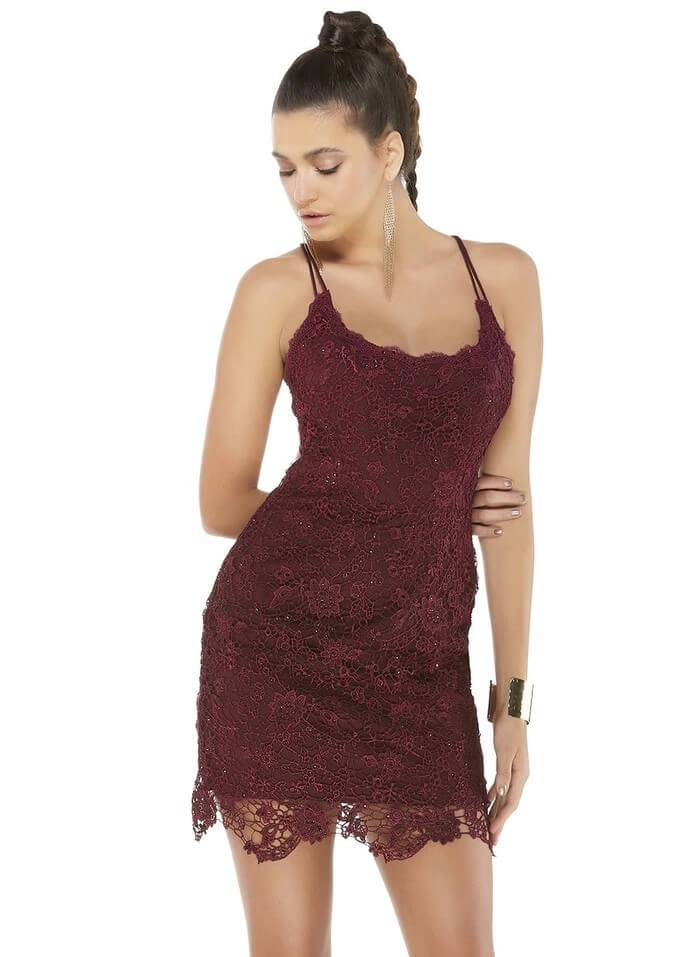 Alyce 4259 Short Lace Scoop Neck Dress