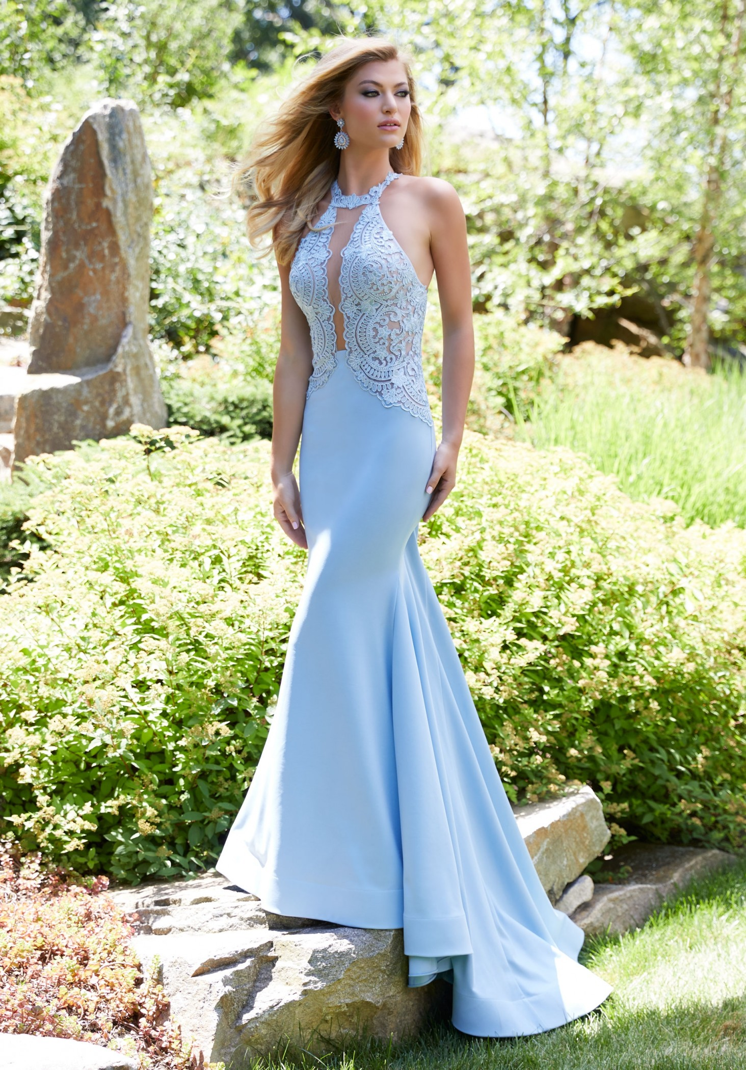 Mori Lee 43014 Sleek Lace Jersey Mermaid Dress