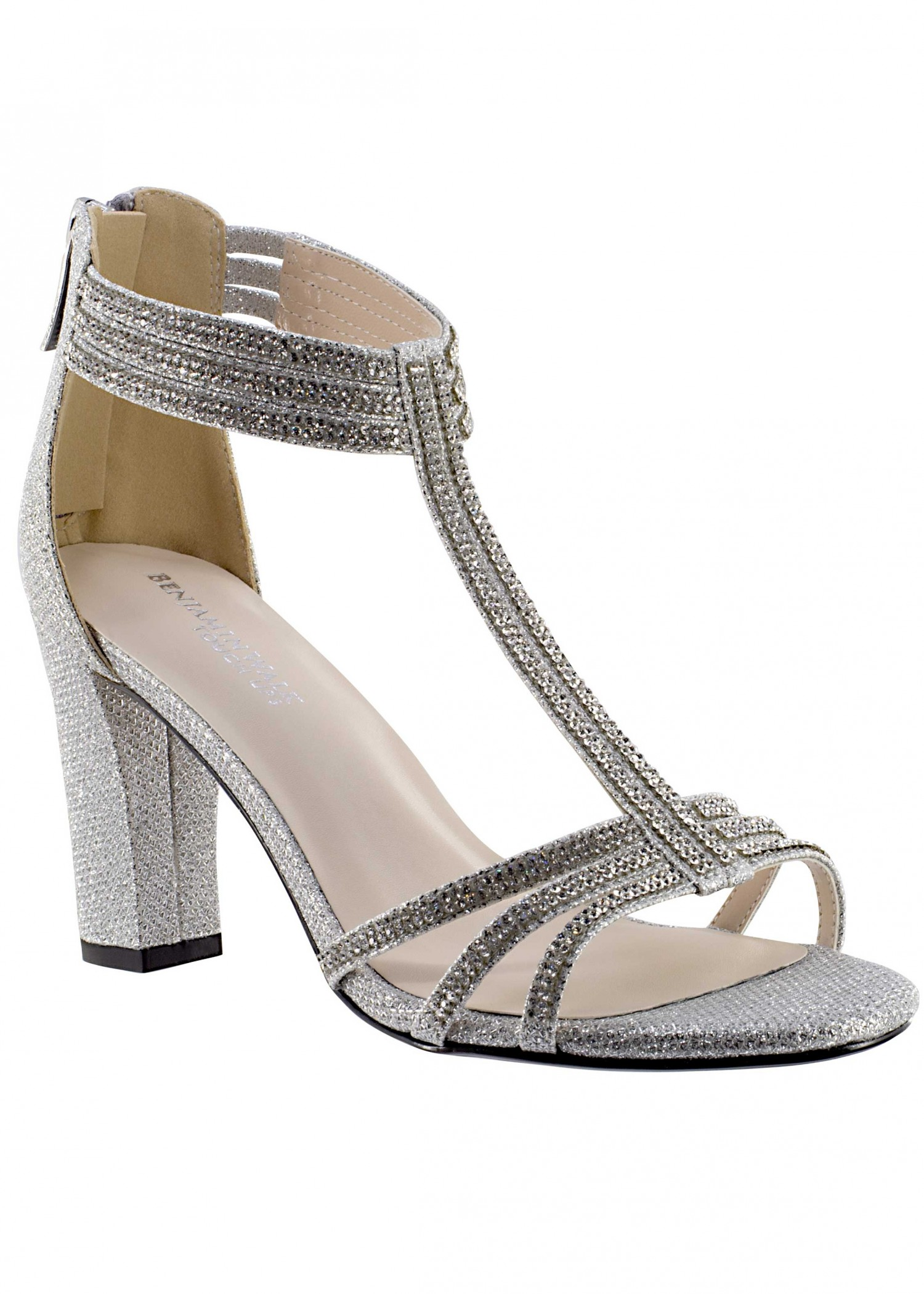 Gabriella by Touch Ups Silver Jeweled T-Strap Sandal
