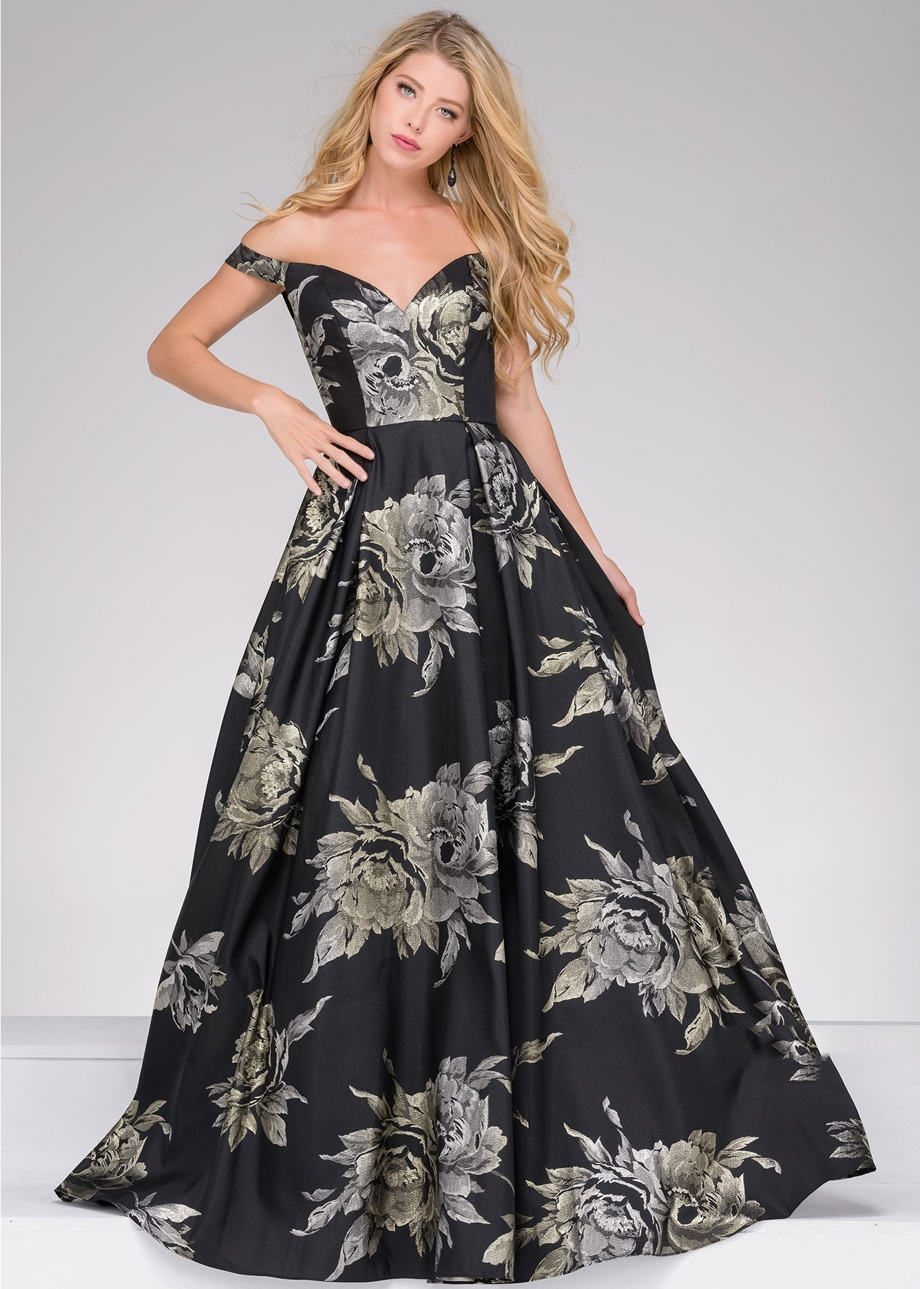 Jovani 48361 Black Floral Ball Gown