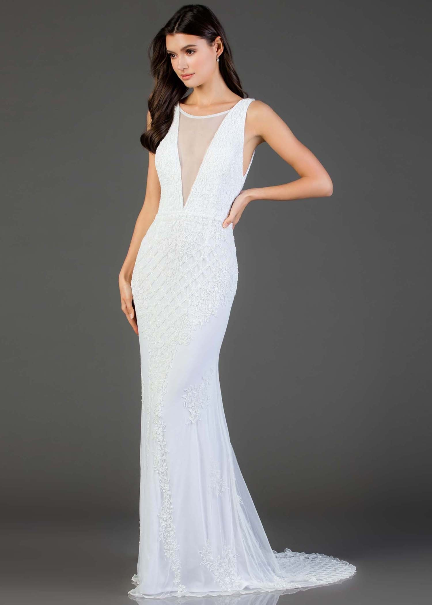Scala 48787 Beaded Gown with Illusion V-Neck