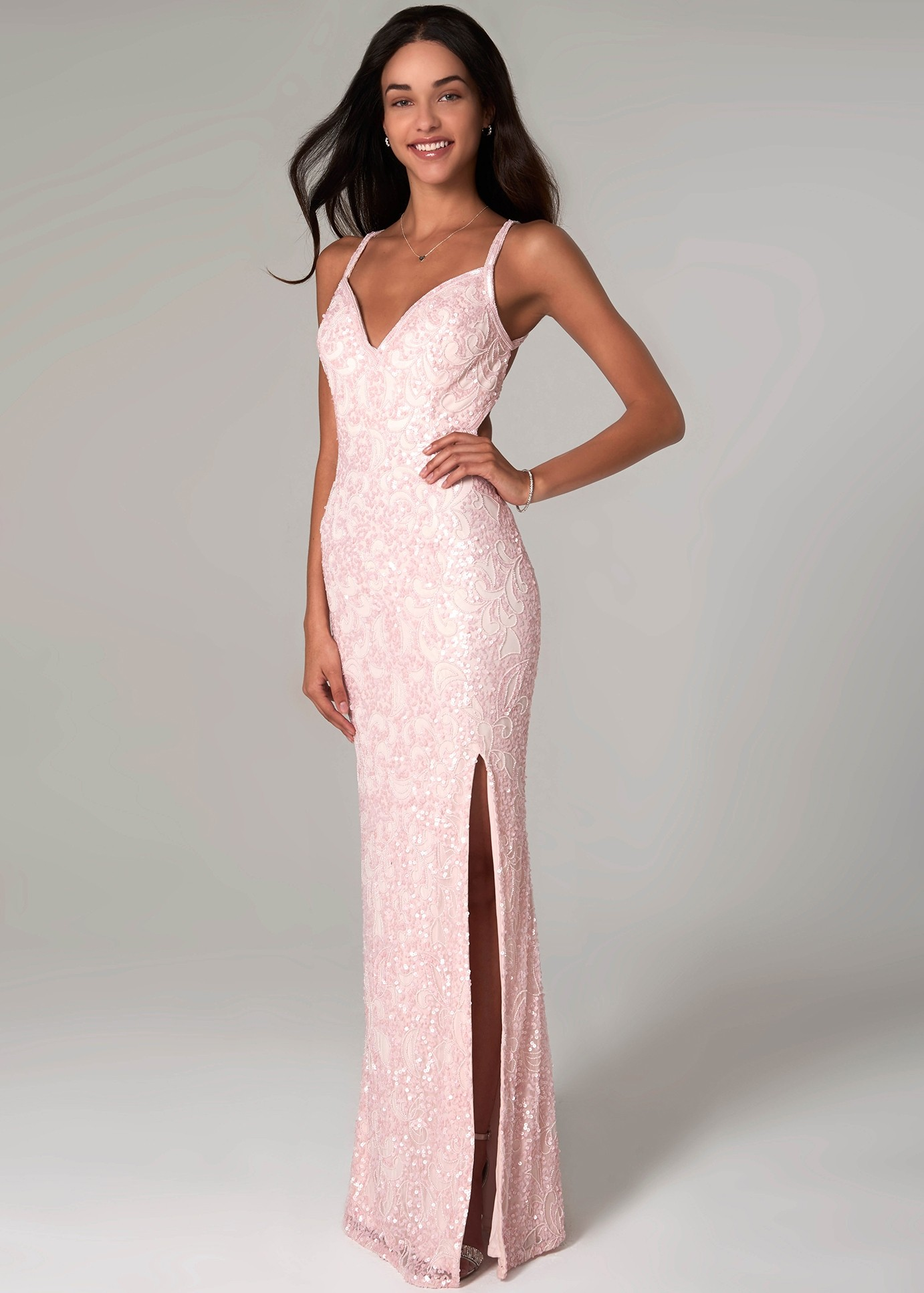 Scala 48932 Strappy Back Sequin Gown