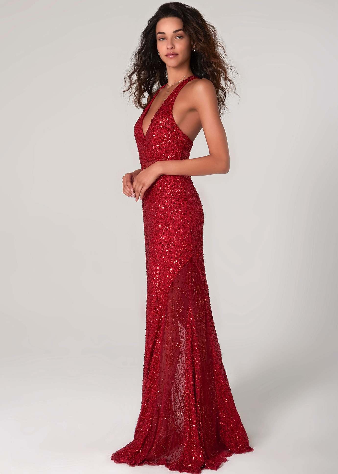 Scala 48983 Sequin Gown with Illusion Sides