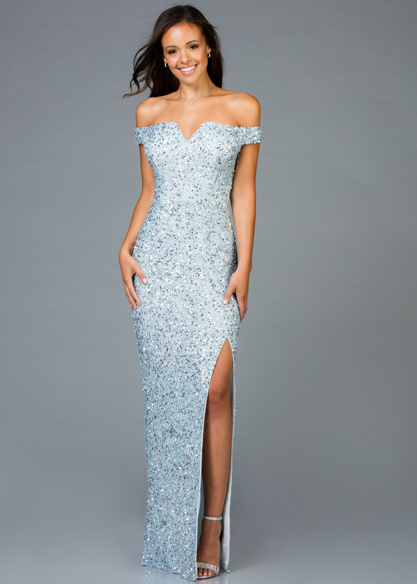 Scala 48985 Sequin Beaded Off-The-Shoulder Gown