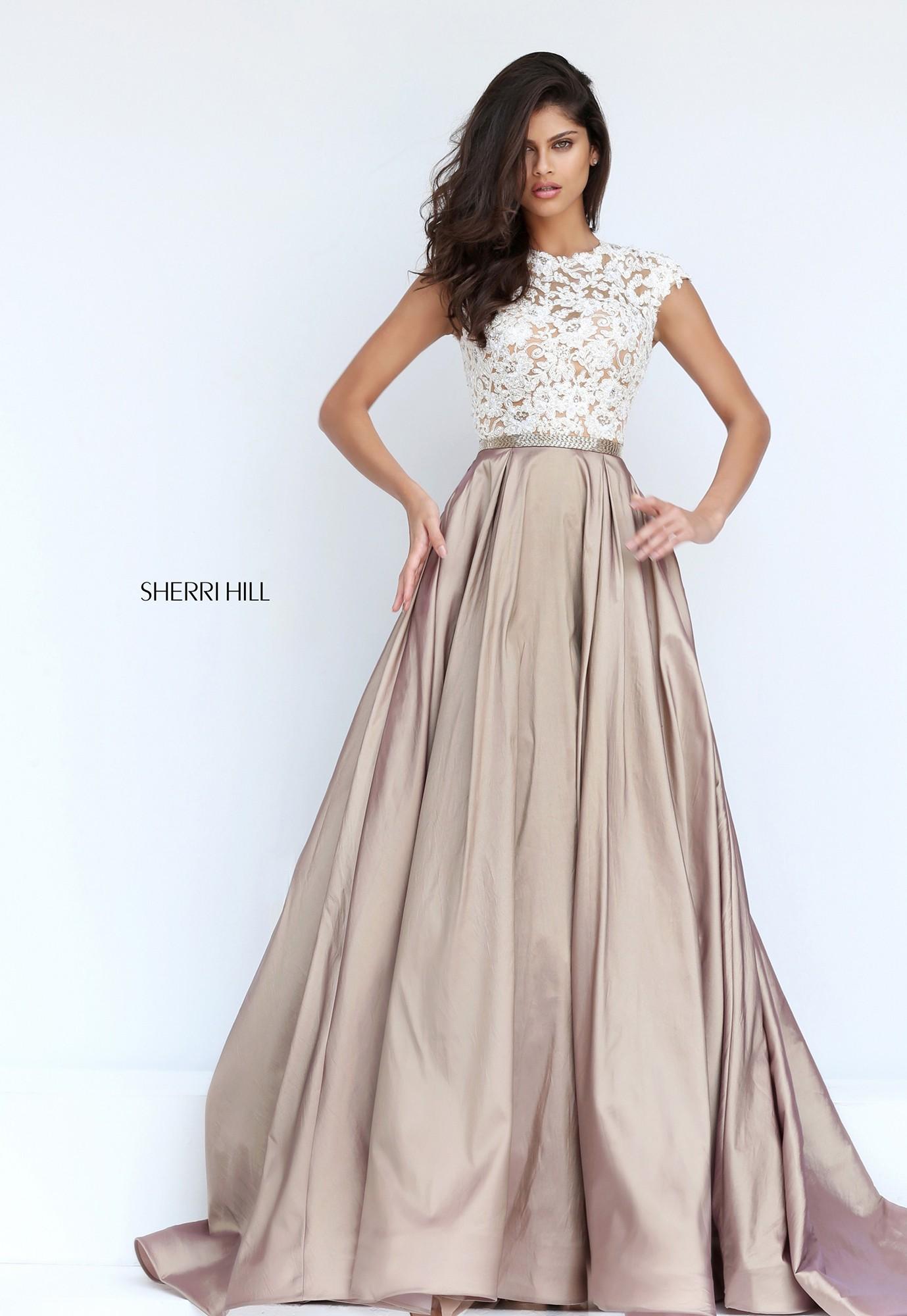 Sherri Hill 50843 Lace Cap Sleeve Open Back Ball Gown