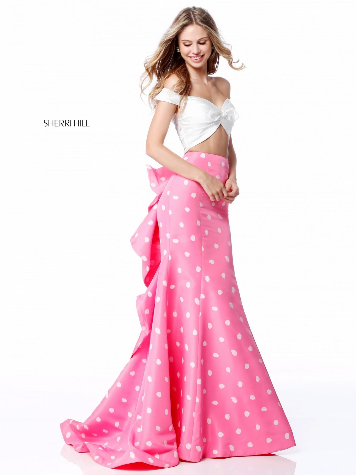 Sherri Hill 51865 Polka Dot Two Piece Prom Dress
