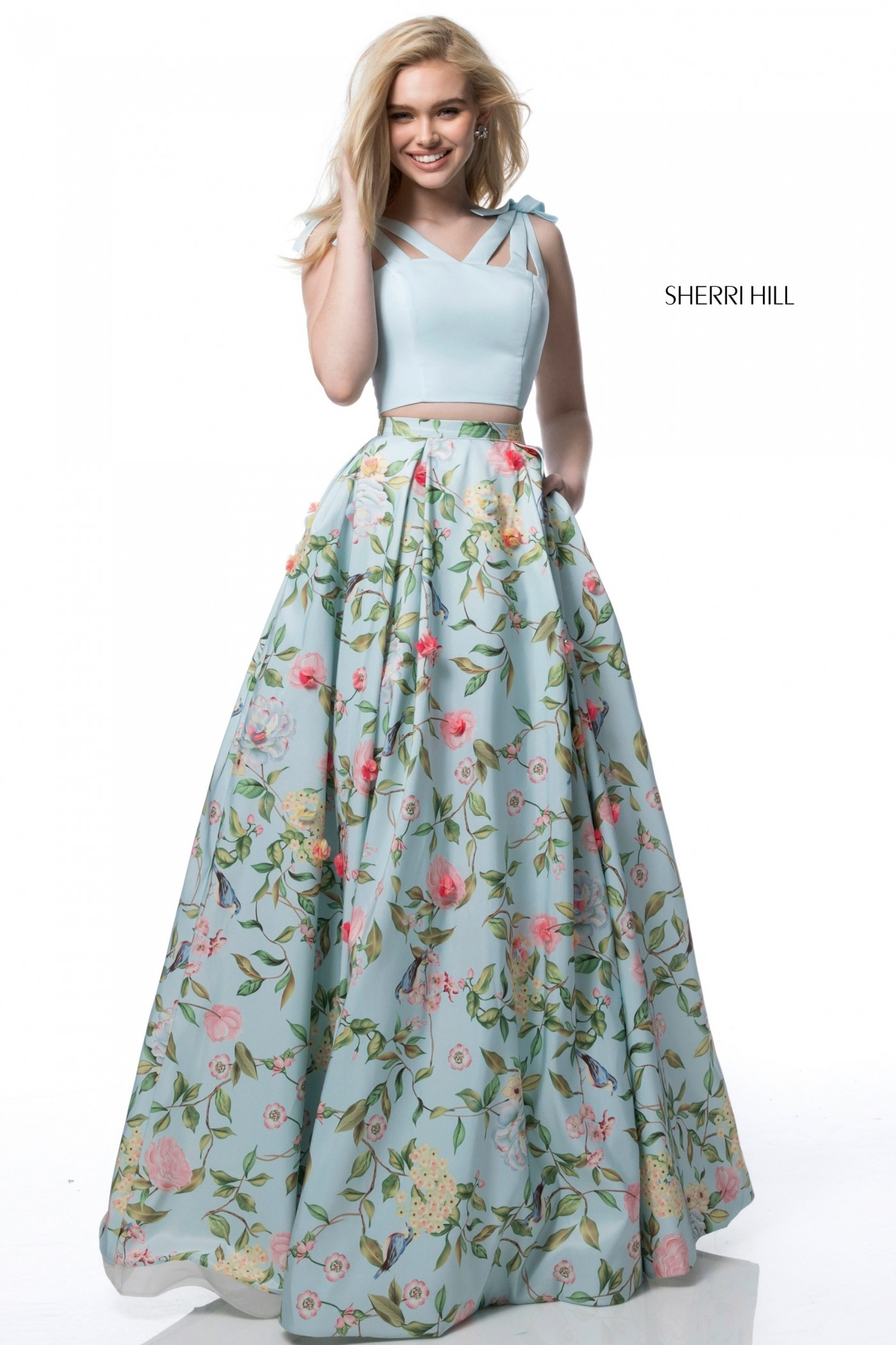 Sherri Hill 51959 Floral Two-Piece Gown with Pockets