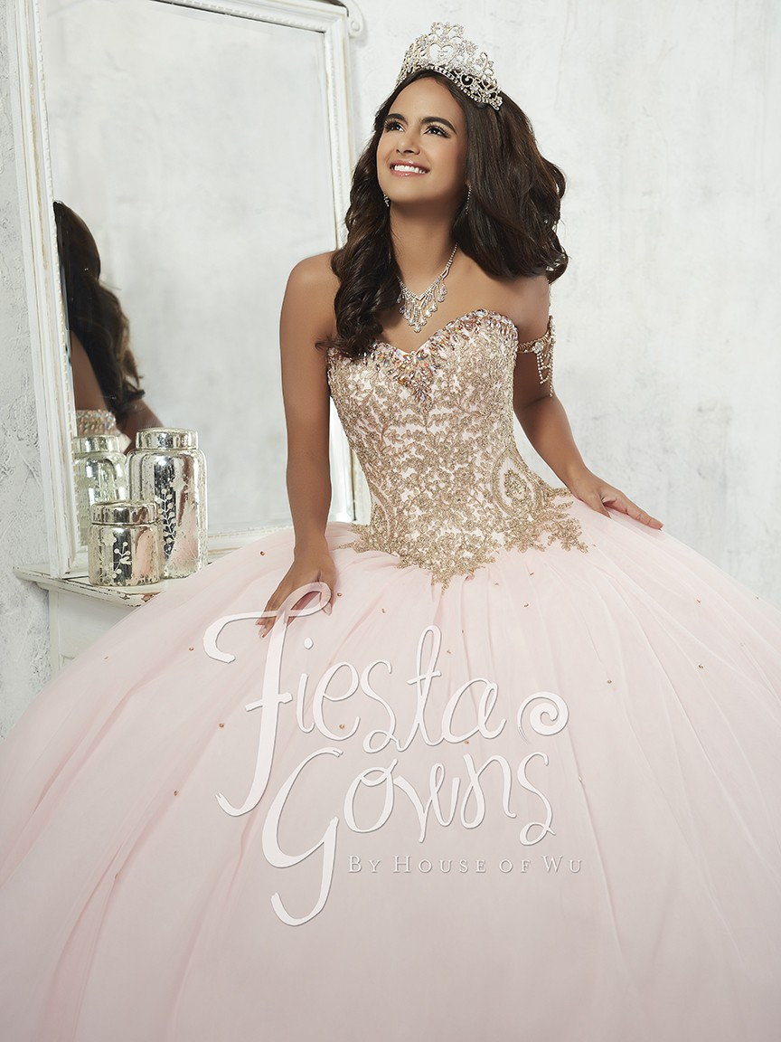 Fiesta 56286 Elegant Gold Embroidered Ball Gown