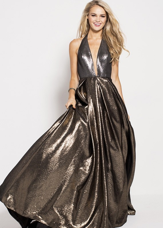 Jovani 57237 Plunge Metallic Gown with Pockets