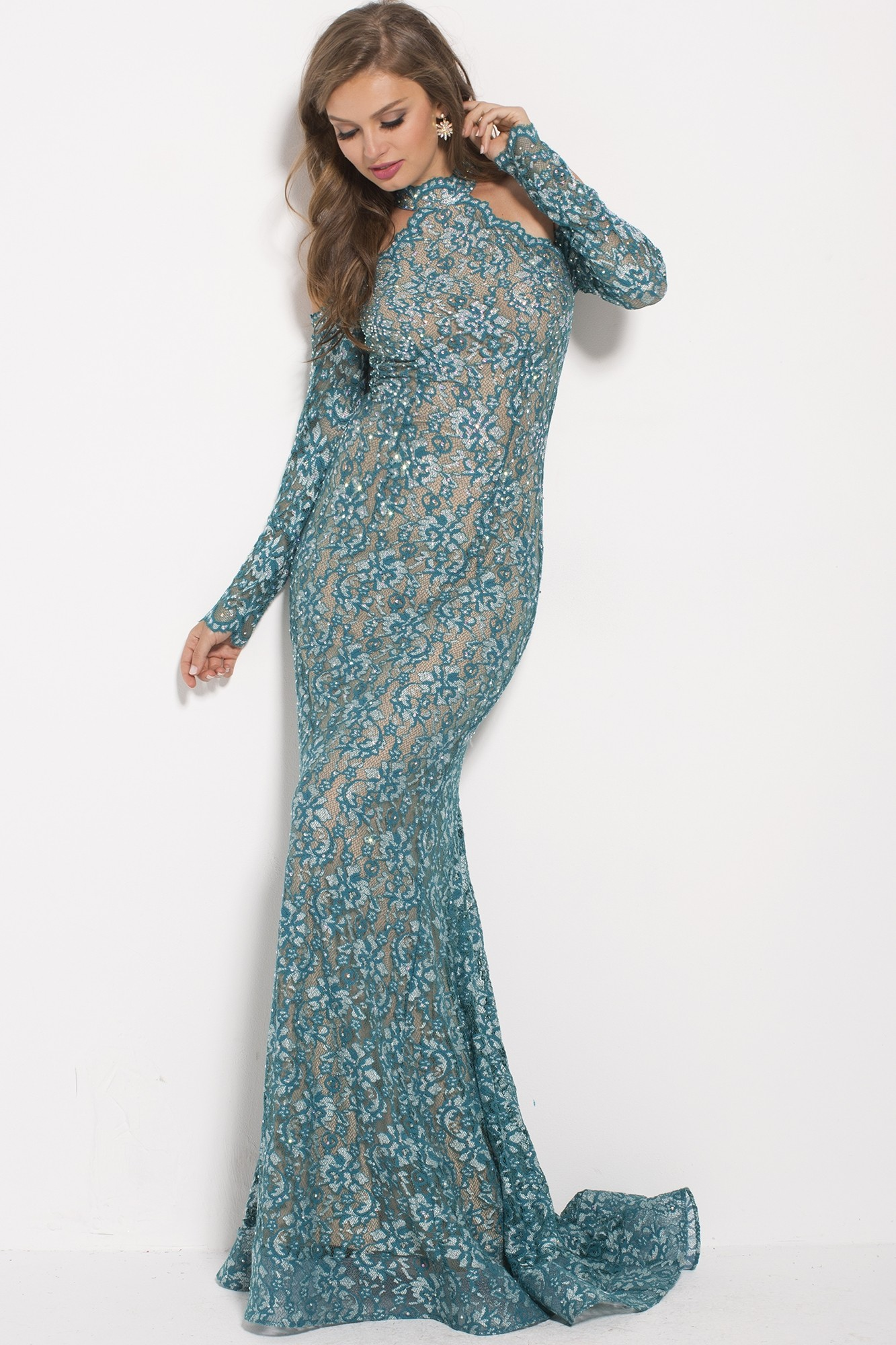 Jovani 58376 Long Sleeve Cold-Shoulder Lace Gown