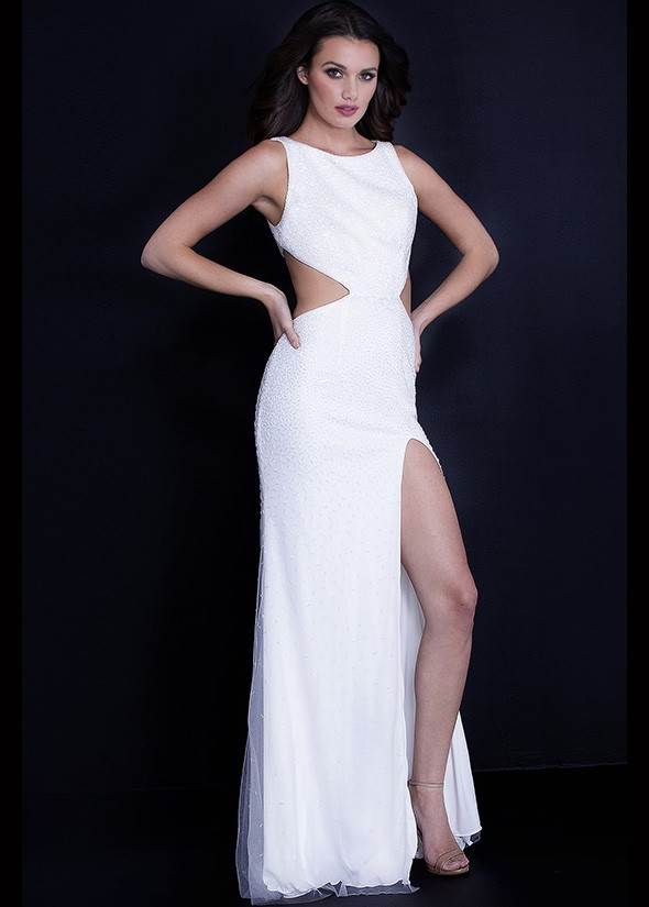 Jovani 59655 Side Cutout Fitted Gown with Slit