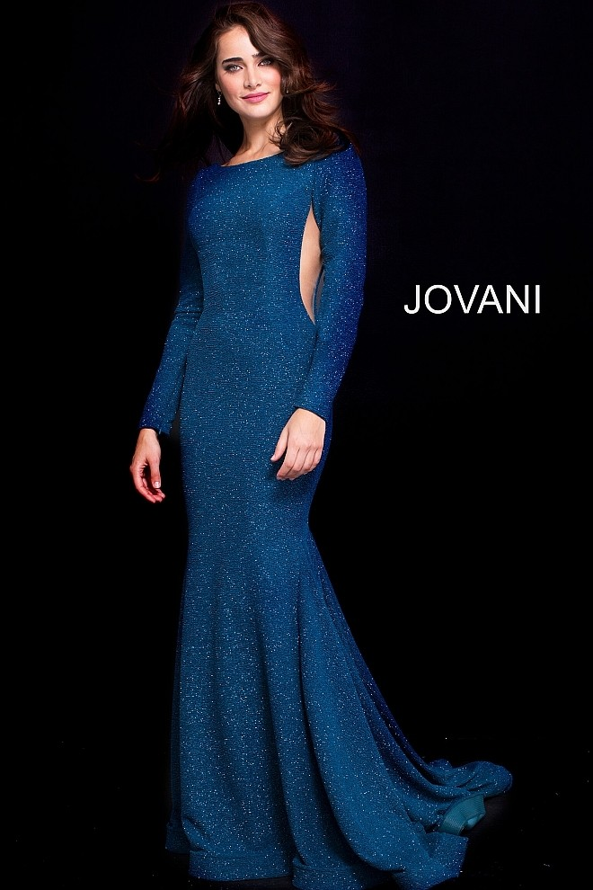 Jovani 59700 Long Sleeve Gown with Sheer Sides