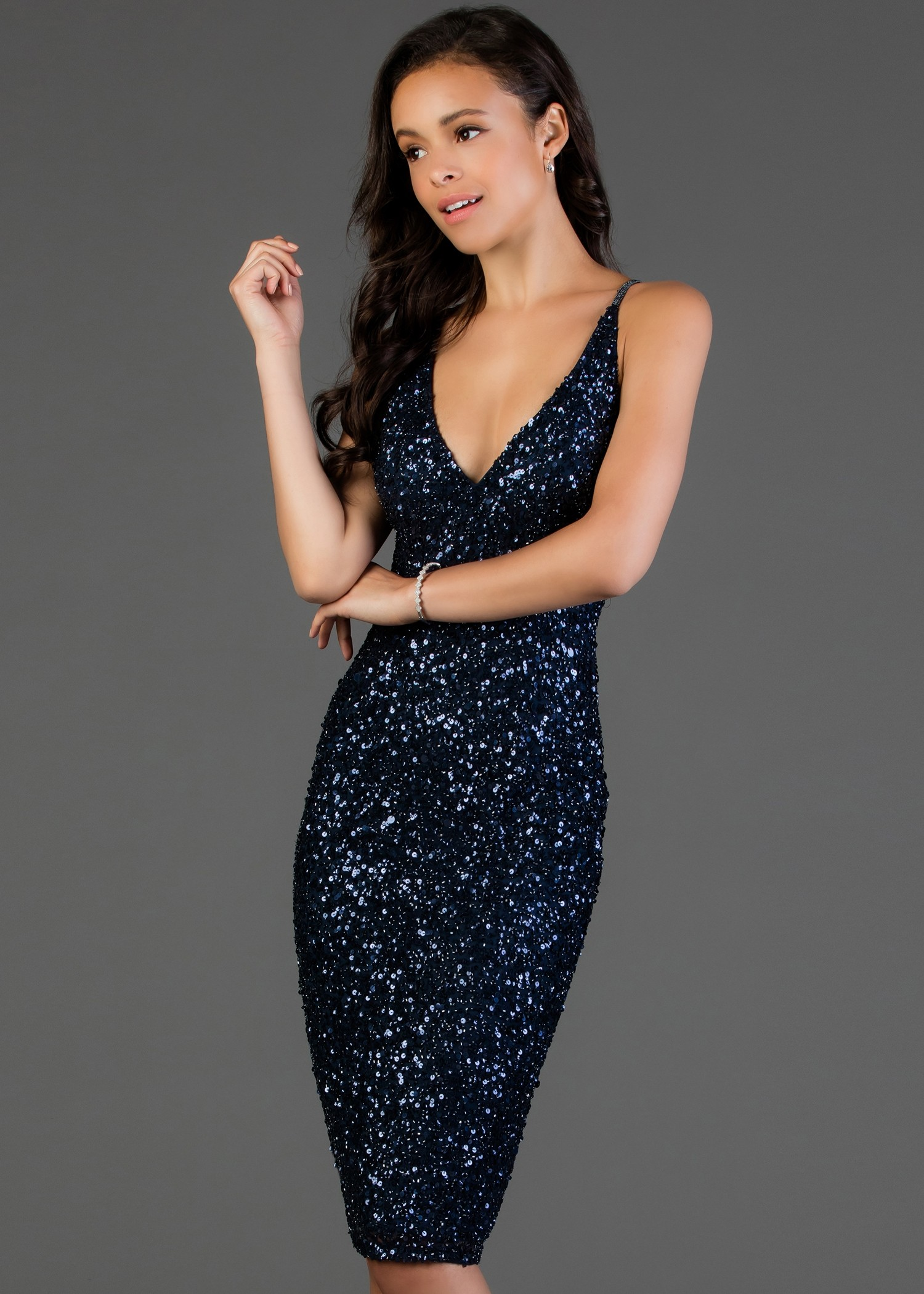 Scala 60060ML Fitted Sequin Evening Dress