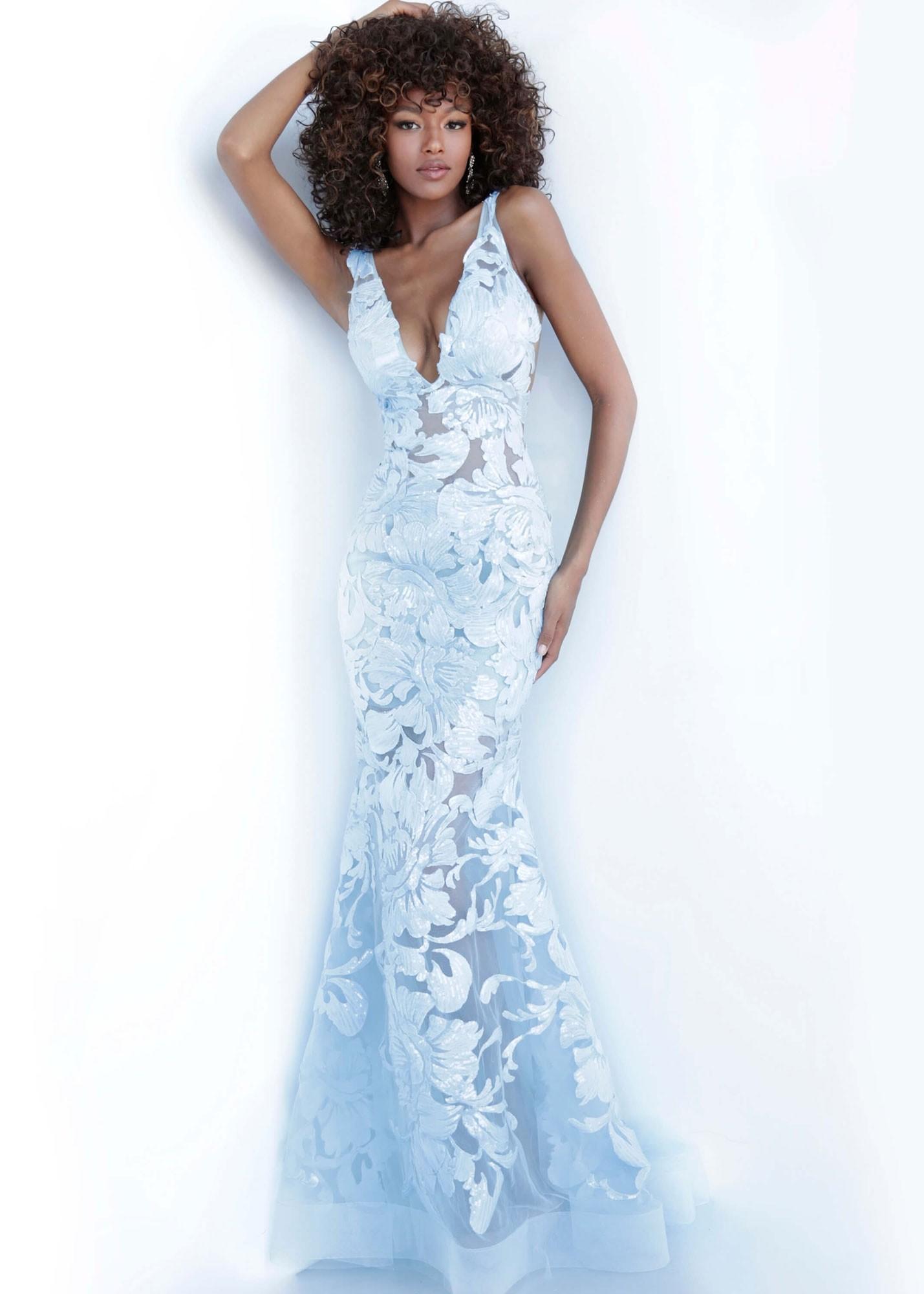 Jovani 60283 Floral Appliques Prom Dress