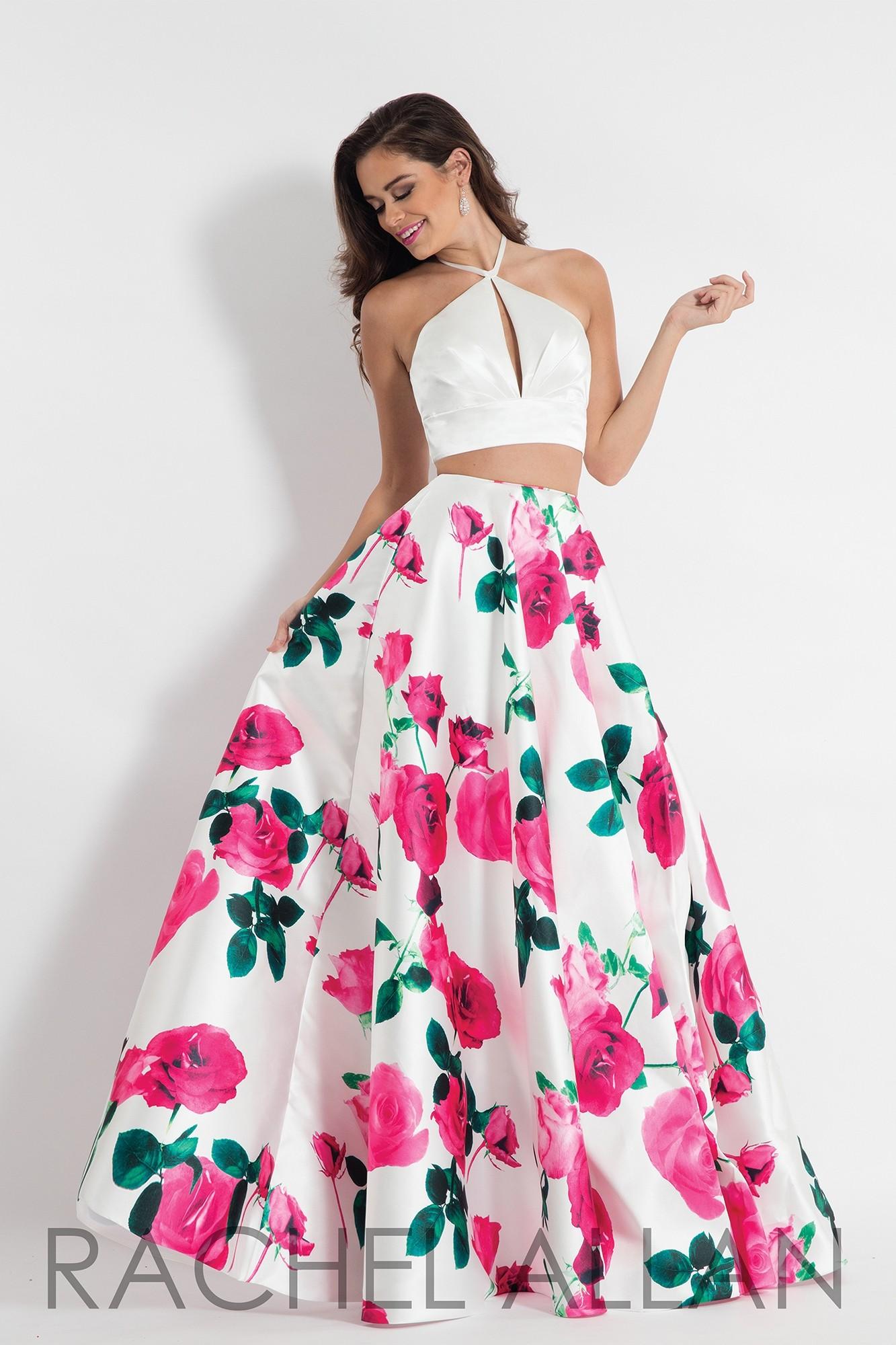 Rachel Allan 6028 Floral Print Mikado Two Piece Gown
