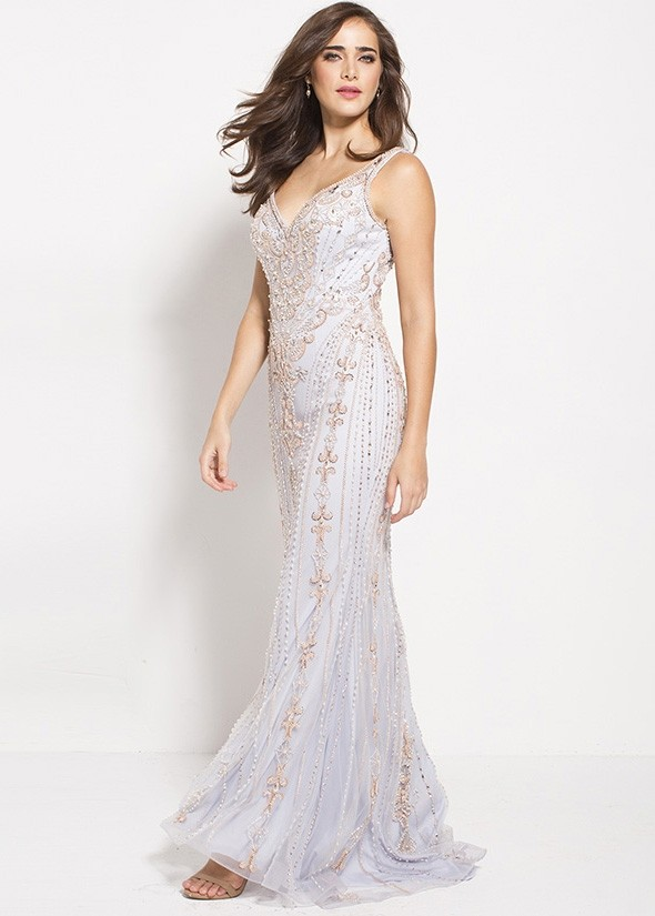 Jovani 60829 Elegant Beaded V-Neck Gown