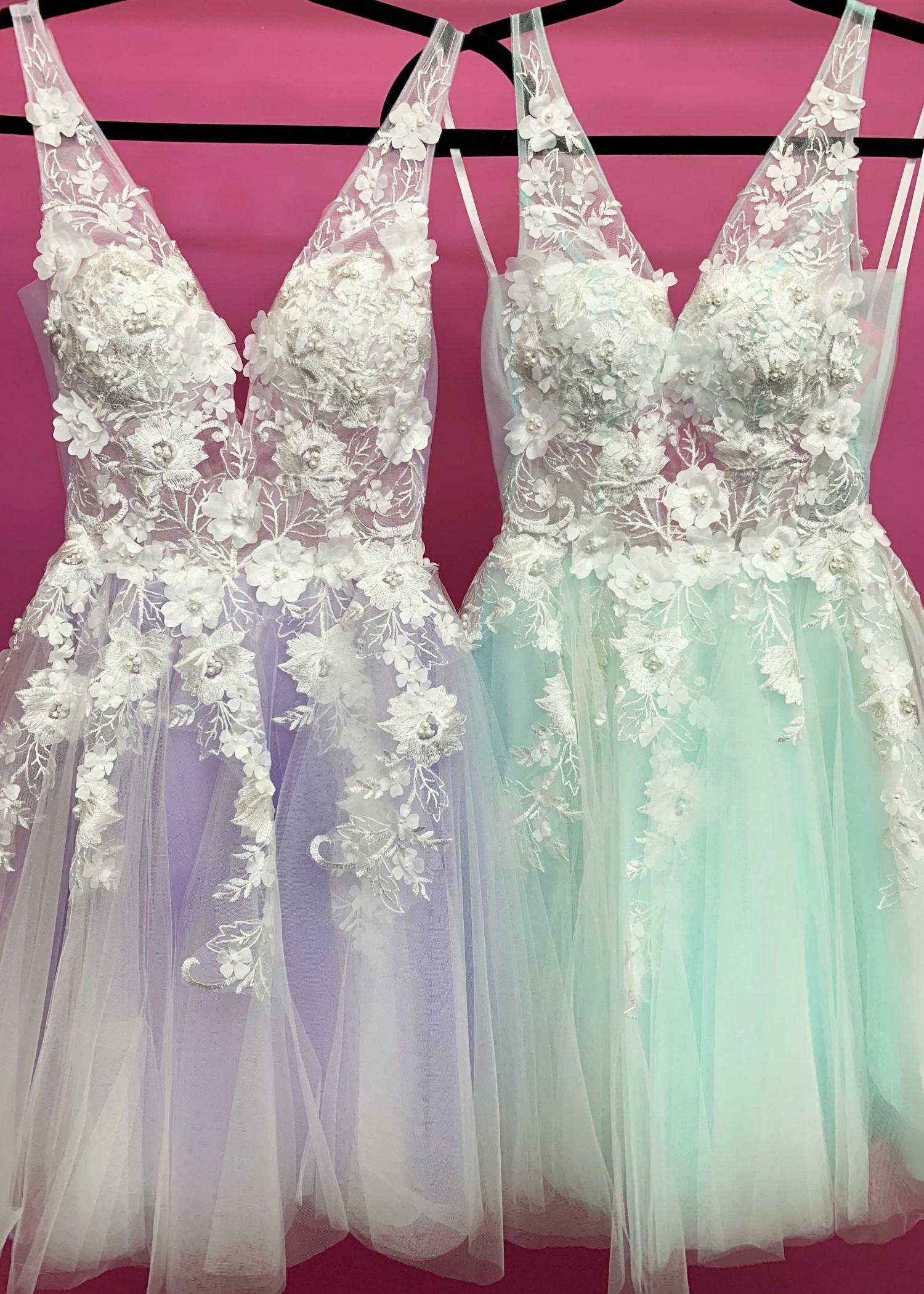 Jovani 63987 V-Neck Floral Lace Applique Short Dress