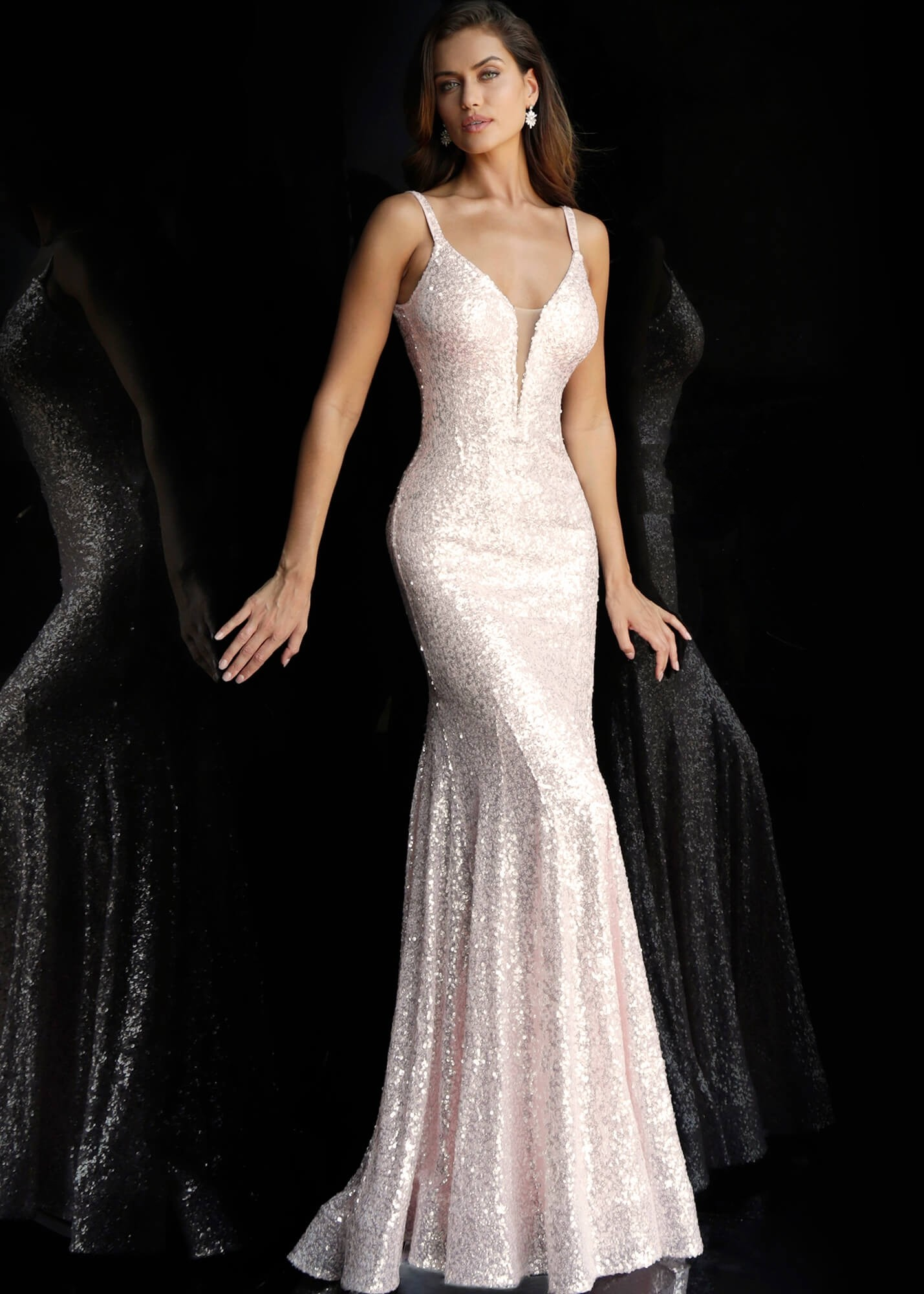 Jovani 66383 Light Pink Sequin Prom Dress