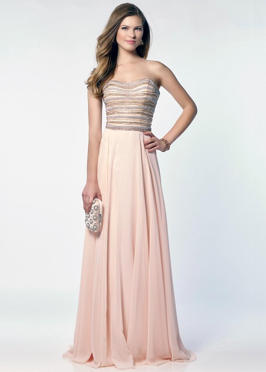 Alyce 6690 Beaded Strapless Long Chiffon Dress